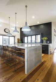 industrial kitchen with an eclectic twist featuring concrete