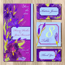 Printable Invitation Card Stock Iris Flower And Lace Printable Wedding Design Set Wedding