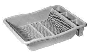 Plastic Dish Drying Rack Curver Cleaning Stainless Steel Effect Silver Drainer