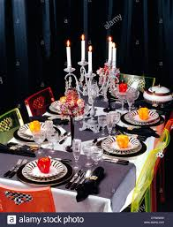 halloween table cloth halloween tablesetting table laid white tablecloth and grey