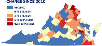 Map Of Virginia Counties And Cities by Virginia U0027s Population Growth Slow But Still Ahead Of National