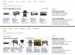 A Google search for gas grills as it currently appears with promoted products  top  compared to how competitors      promoted products would appear under the