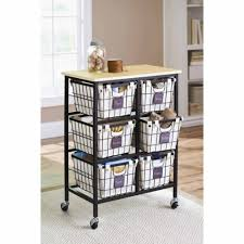 Kitchen Carts On Wheels by Better Homes And Gardens 6 Drawer Wire Cart Black Walmart Com