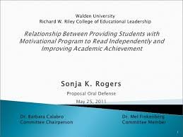 Sonja K  Rogers Proposal Oral Defense May          Walden University Richard W