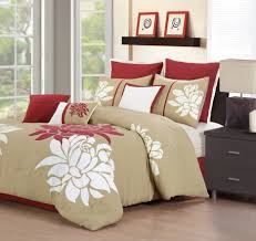 Red King Comforter Sets Cream Bedding Set With Big White Red Floral Pattern Completed With