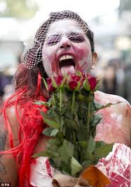 A zombie bride was among the group spreading terror and raising money for charity in central hosting go com