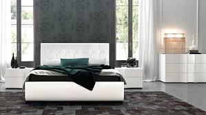 Modern Leather Bedroom Furniture Bedroom King Size White Modern Leather Platform Bed Grey