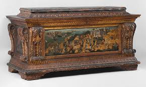 Courtship and Betrothal in the Italian Renaissance   Essay     Cassone with painted front panel depicting the Conquest of Trebizond