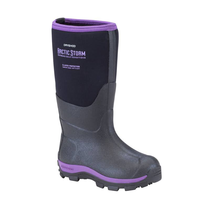 Dryshod Arctic Storm Kids Winter Boot Black/Purple 2 ARS-KD-PP-200