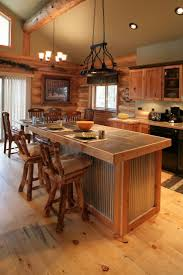 best ideas about log cabin kitchens pinterest houses find this pin and more dream home kitchen island corrugated metal idea