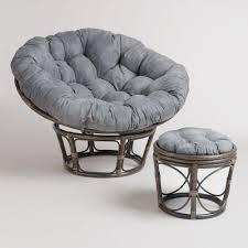 Papasan Chair In Living Room Charcoal Micro Suede Papasan Chair Cushion World Market