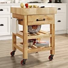 crosley marston butcher block natural kitchen cart from