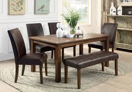 6 person wooden based dining furniture set with brown leather 6 person wooden based dining furniture set with brown leather upholstered bench and chairs also table