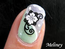 flower nail art tutorial snow flower design sticker mint grey