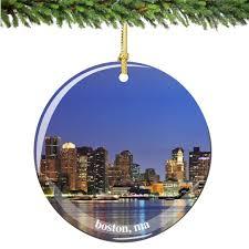 amazon com boston christmas ornament porcelain 2 75