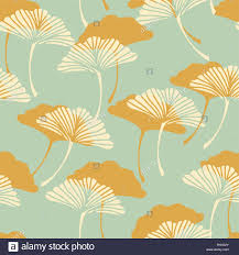 a japanese style ginkgo biloba leaves seamless tile in a gold and