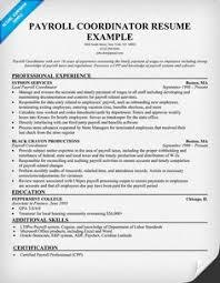 Payroll Coordinator Resume Sample Pinterest