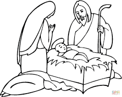 joseph and maria near little jesus coloring page free printable