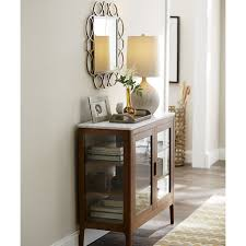 White Entryway Table by Honed White Marble Top Nut Brown Stained Oak Entryway Cabinet