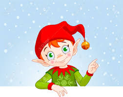 cute christmas elf with a place card or invite royalty free
