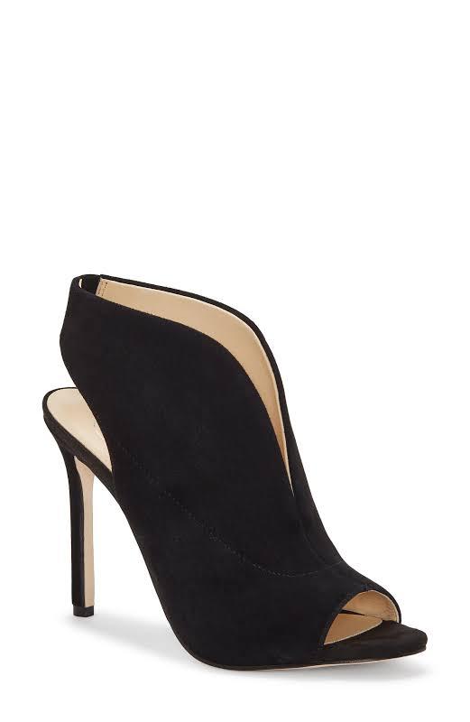 Jessica Simpson Javrey Suede Stiletto Peep-Toe Heels Black 6 Medium (B,M)