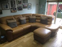 Leather Sofas At Dfs by Dfs Leather Corner Unit And Storage Pouffe Dijon Coloured Two