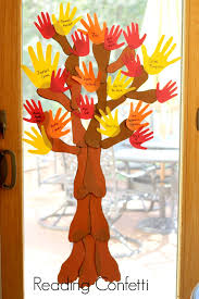 family handprint and footprint fall tree reading confetti