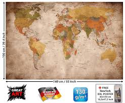 World Map Pinboard by Poster Used Look Wall Picture Decoration Globe Continents Atlas
