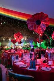 Rainbow Wedding Centerpieces by Reception Table For Wizard Of Oz Theme Wedding Emerald City Green