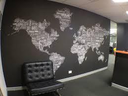 worldtextmap white black installed in office fabrics textiles