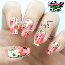 nailvengers assemble floral nail art watercolour effect