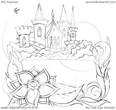 royalty free rf clipart illustration of a black and white castle