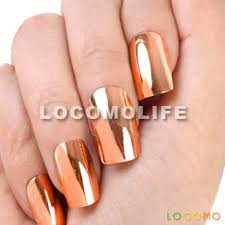 metallic color acrylic false fake full nail tip art bronze