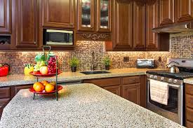 modern small kitchen design with mosaic backsplash and grey