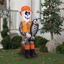 halloween decorations skeletons gemmy airblown inflatable 5 5 u0027 x 2 u0027 fishing skeleton halloween