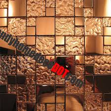 Mosaic Tiles For Kitchen Backsplash Sample Copper Metal Pattern Textured Glass Mosaic Tile For