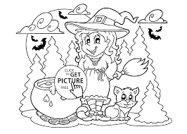 witch and cat coloring page for kids printable free halloween