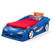 step2 blue wheels toddler race car bed dresser