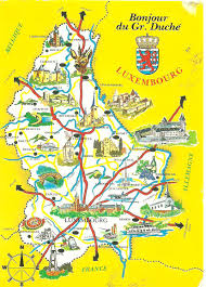 Luxembourg Map Postcard A La Carte Luxembourg Map 11 11 11