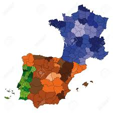Map Of France And Spain by Hi Detailed Vector Map Of France Spain And Portugal Royalty Free