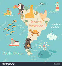 Kids World Map Animals World Map South America South America Map For Children