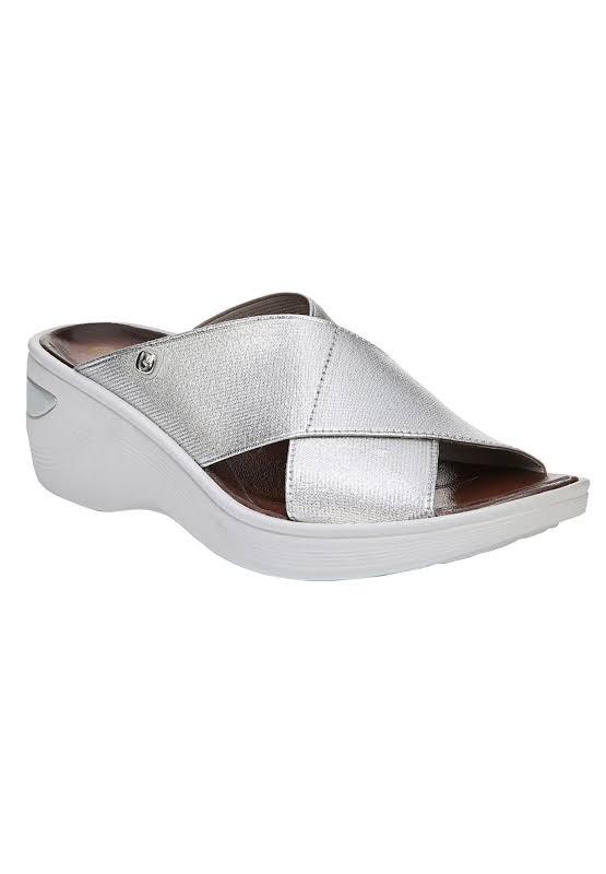 BZees Desire Fabric Open Toe Casual, Silver/Metallic Gore,