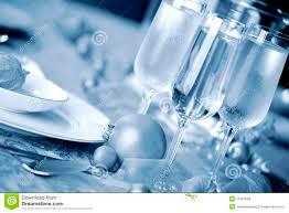 elegant blue and white christmas table setting stock image image