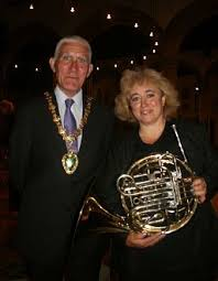 This is the Mayor with Lorraine - local musician and a well known face in the Abingdon information centre. The violin soloist was Caroline Duffner. - 08070604