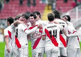 Los jugadores del Rayo Vallecano celebran uno de los goles de la presente temporada
