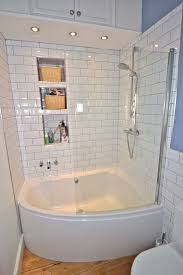 Tile Ideas For Small Bathroom Simple White Small Bathroom Design With Corner Bath Tub And White