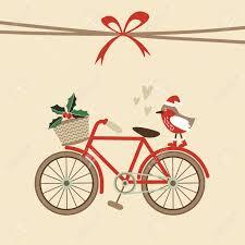 Card Invitation Cute Retro Christmas Card Invitation With Hand Drawn Bicycle