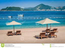 Luxury Beach Chair Montenegro Luxury Sand Beach Stock Photo Image 65663672