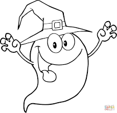 smiling halloween ghost coloring page free printable coloring pages