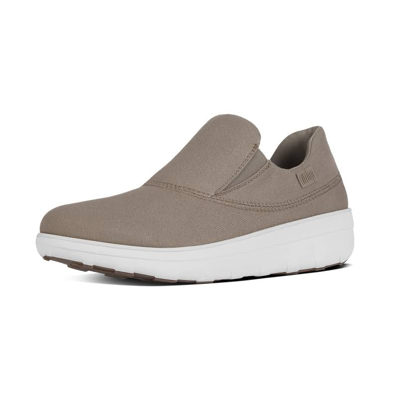 Fitflop Loaff Canvas Slip-On Casual Shoes Taupe 8 Medium (B,M)
